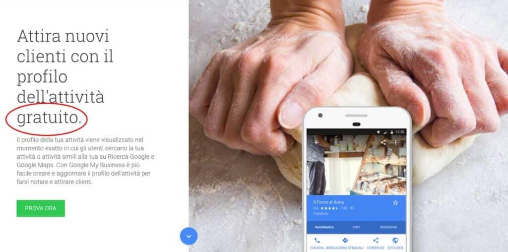google my business homepage evidenza gratuito