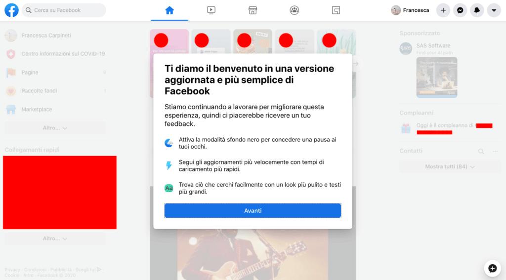 Novità Facebook: dark mode e cambio layout 1