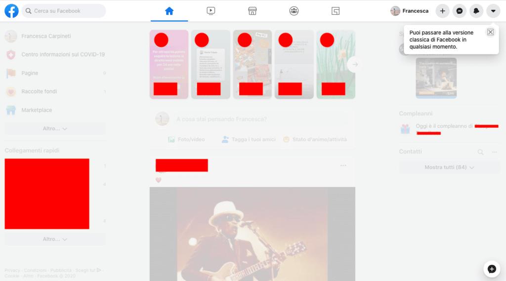 Novità Facebook: dark mode e cambio layout 3