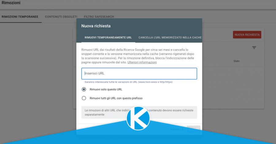 finestra di richiesta del rapporto rimozione della search console di google